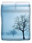 Trees And Snow In Fog, Toronto, Ontario Duvet Cover