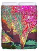 Trees Around Faal Season  Digitally Painted Photograph Taken Around Poconos  Welcome To The Pocono M Duvet Cover