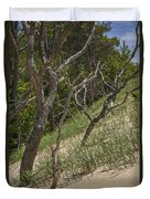 Trees At The Edge Of A Dune At Silver Lake Duvet Cover