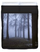 Trees Greenlake With Man Walking Duvet Cover