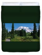 Trees In A Forest, Mt Rainier National Duvet Cover
