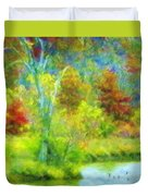 Trees In Spring On A Lake Duvet Cover