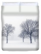 Trees In Winter Fog Duvet Cover