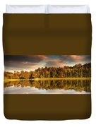 Trees Lining The Waters Edge Reflected Duvet Cover