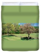 Trees On A Field, Davidson River Duvet Cover