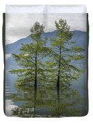 Trees On A Flooding Alpine Lake Duvet Cover