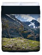 Trees On Top Of A Ridge At Glacier National Park Duvet Cover