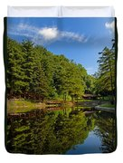 Trees Reflected On Mirrored Lake  Duvet Cover