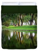 Trees Reflection On The Lake Duvet Cover by Heiko Koehrer-Wagner