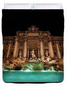 Trevi Fountain Illuminated At Nighttime Duvet Cover