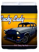 Tri-5 Chevy Rat Rod Lucky Lady Duvet Cover