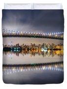 Triboro Bridge Panorama At Night Duvet Cover