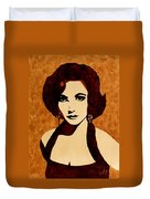 Tribute To Elizabeth Taylor Coffee Painting Duvet Cover