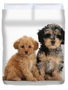 Tricolor Merle Daxie-doodle And Red Toy Duvet Cover