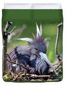 Tricolored Heron Female Incubating Eggs Duvet Cover