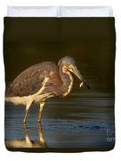 Tricolored Heron With Fish Duvet Cover