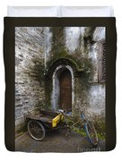 Tricycle Parked In Alleyway Duvet Cover