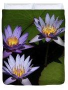 Trio Of Purple Water Lilies Duvet Cover