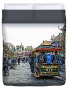 Trolley Car Main Street Disneyland 01 Duvet Cover