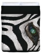 Trophy Hunter In Eye Of Dead Zebra Duvet Cover