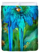 Tropic Spirits - Gold And Blue Macaws Duvet Cover