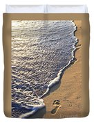 Tropical Beach With Footprints Duvet Cover