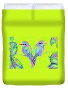 Tropical Birds Blue And Chartreuse Duvet Cover