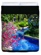 Tropical Garden Around Pool Duvet Cover