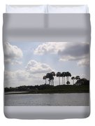 Tropical Palms And Clouds Duvet Cover