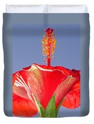 Tropical Red Hibiscus Flower Against Blue Sky  Duvet Cover