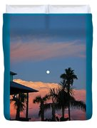 Tropical Sunset With The Moon Rise Duvet Cover