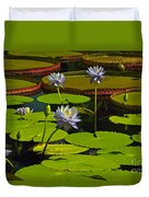 Tropical Water Lily Flowers And Pads Duvet Cover
