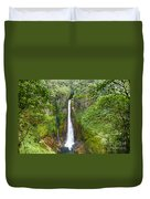 Tropical Waterfall In Volcanic Crater Duvet Cover