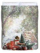 Truck Carrying Christmas Trees Duvet Cover