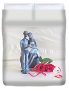 True Love In Silver Duvet Cover