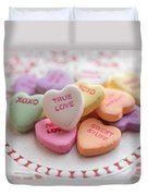 True Love Valentine Candy Hearts Duvet Cover