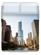 Trump Tower And Downtown Chicago Buildings Duvet Cover
