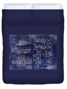 Trumpet Patent Drawing Blue Duvet Cover