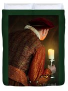 Tudor Man With Candle Duvet Cover