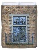 Tudor Style Windows With Balcony Duvet Cover