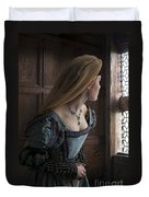Tudor Woman Spying Through A Window Duvet Cover