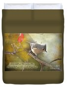 Tuffted Titmouse With Verse Duvet Cover