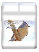 Tufted Titmouse Christmas Card Duvet Cover