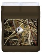 Tufted Titmouse On The Watch Duvet Cover