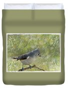 Tufted Titmouse With Decorations Duvet Cover