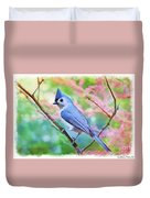 Tufted Titmouse With Spring Booms - Digital Paint II Duvet Cover