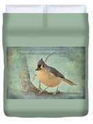 Tufted Titmouse With Verse IIi Duvet Cover
