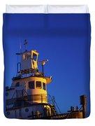 Tug Boat At Dawn, Cape Ann, Gloucester Duvet Cover