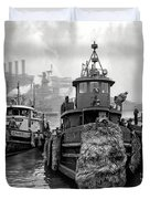 Tugboat Winter  1946 Duvet Cover