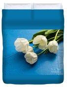 Tulip Flowers Over Blue Duvet Cover
